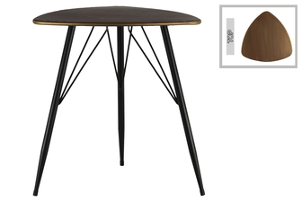 UTC38815 Metal Triangular Table with Curved Edges and 3 Legs Metallic Finish Champagne