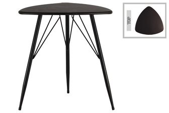 UTC38816 Metal Triangular Table with Curved Edges and 3 Legs Metallic Finish Gunmetal Gray