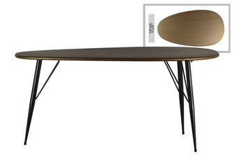 UTC38817 Metal Oval Table with Curved Edges and 3 Legs Metallic Finish Champagne