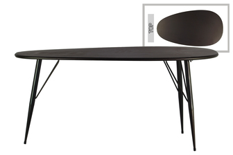 UTC38818 Metal Oval Table with Curved Edges and 3 Legs Metallic Finish Gunmetal Gray