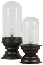 UTC38824 Metal Round Hurricane Lantern with Glass Top and White 2 lm LED Lights on Base (2x AA Battery Not Included) Set of Two Metallic Finish Dark Brown