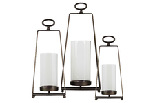 UTC38825 Metal Round Lantern with Oval Ring Handle and Glass Cylinder Holder Center Set of Three Metallic Finish Dark Brown