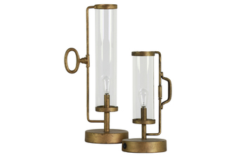 UTC38833 Metal Round Lantern with Glass Cylinder, Handle and Warm/Soft White 2 lm LED Lights on Base (2x AA Battery Not Included) Set of Two Antique Finish Gold