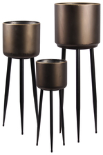 UTC38838 Metal Round Plant Stand with Gold Edges and 3 Legs Set of Three Coated Finish Gunmetal Gray