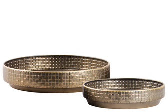 UTC38839 Metal Round Tray with Lattice Design Body and Tapered Bottom Set of Two Painted Finish Titanium Gold