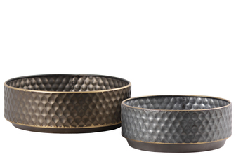 UTC38840 Metal Round Tray with Dimpled Design Body, Gold Edges and Tapered Bottom Set of Two Galvanized Finish Gray