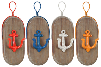 UTC39217-AST Metal Oval Wall Hook with 1 Hanger, Wood Board and 1 Anchor Design Hook Coated Finish Assortment of Four Colors (Yellow, Dark Blue, White, Red)