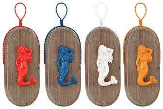 UTC39218-AST Metal Mermaid Wall Hook with Hanger, on Oval Wood Board Coated Finish Assortment of Four Colors (Yellow, Dark Blue, White, Red)
