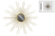 UTC39221 Metal Round Wall Mirror with Sunburst Design Metallic Finish Gold