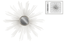 UTC39222 Metal Round Wall Mirror with Sunburst Design Metallic Finish Silver