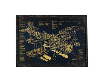 "UTC39326 Wood Rectangular Panel Giclee Print of ""Aircraft Blueprint"" with Frame Coated Finish Black"