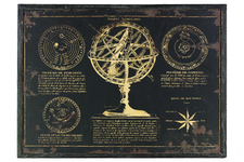 "UTC39327 Wood Rectangular Panel Giclée Print of ""Sphere Armillaire"" with Frame Coated Finish Black"