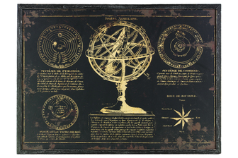 "UTC39327 Wood Rectangular Panel Giclee Print of ""Sphere Armillaire"" with Frame Coated Finish Black"