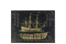 "UTC39328 Wood Rectangular Panel Giclee Print of ""Galleon"" with Frame Coated Finish Black"