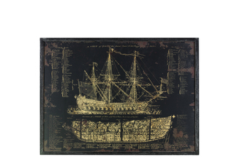 "UTC39328 Wood Rectangular Panel Giclée Print of ""Galleon"" with Frame Coated Finish Black"