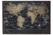 "UTC39332 Wood Rectangular Panel Giclée Print of ""World Atlas"" with Frame Coated Finish Black"