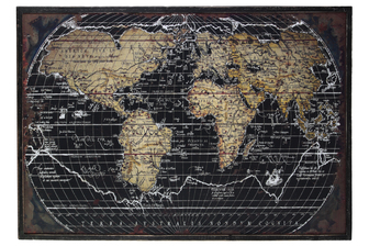 "UTC39332 Wood Rectangular Panel Giclee Print of ""World Atlas"" with Frame Coated Finish Black"