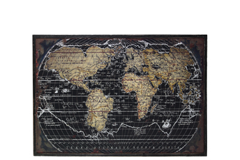 "UTC39337 Wood Rectangle Panel Giclee Print of ""World Atlas"" with Frame Distressed Finish Black"