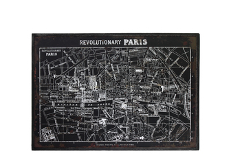 "UTC39338 Wood Rectangle Panel Giclee Print of ""Revolutionary Paris"" with Frame Distressed Finish Black"