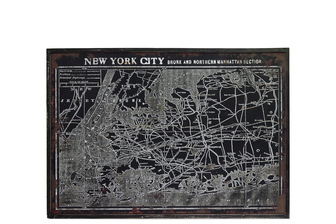 "UTC39339 Wood Rectangle Panel Giclée Print of ""Map of New York City Manhattan and Bronx Section"" with Frame Distressed Finish Black"