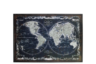 "UTC39340 Wood Rectangle Panel Giclee Print of ""Old World Map"" with Frame Distressed Finish Black"