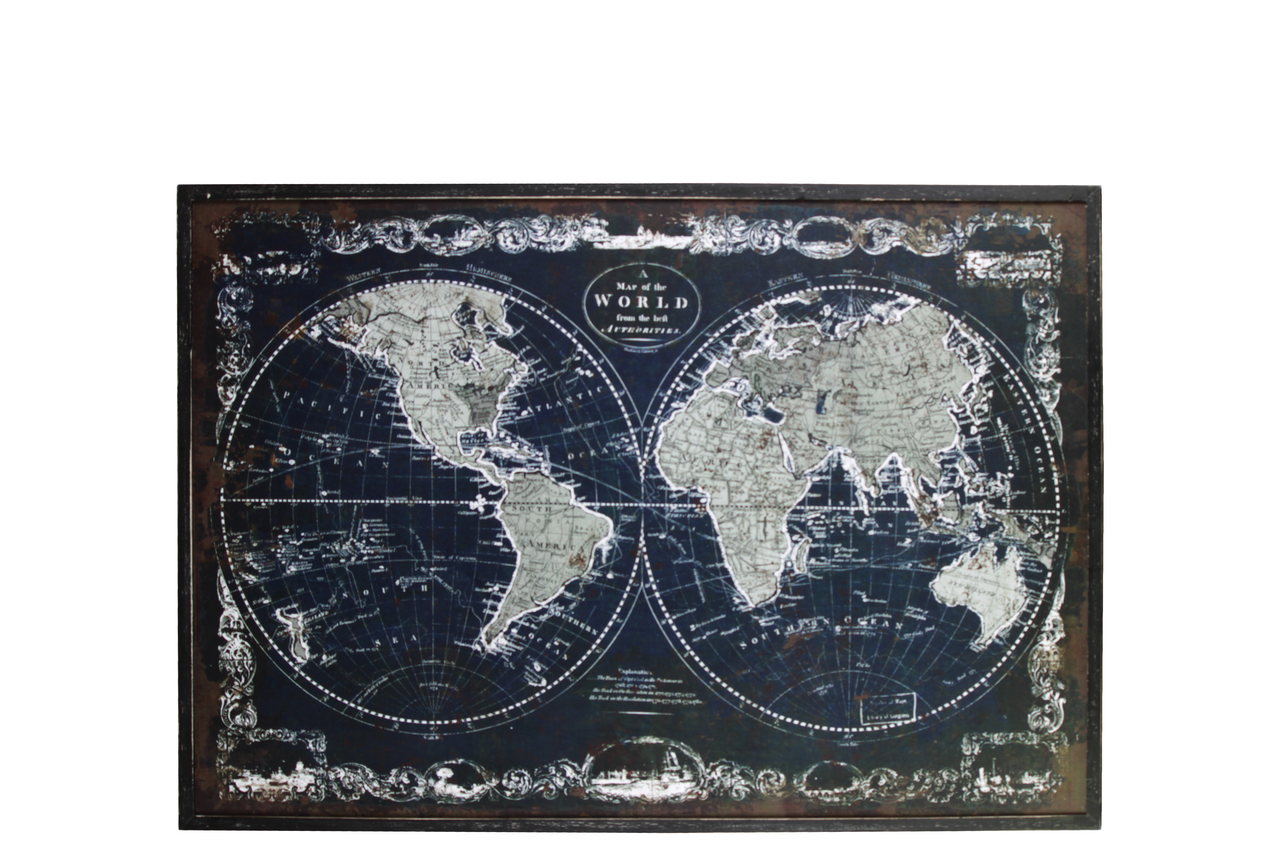 Wood Rectangle Panel Giclee Print Of Old World Map With Frame Distressed Finish Black