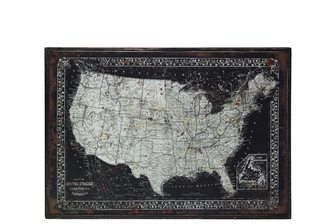 "UTC39341 Wood Rectangle Panel Giclee Print of ""Map of USA"" with Frame Distressed Finish Black"
