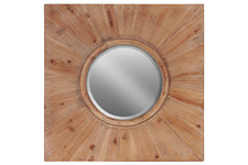 UTC39407 Wood Round Wall Mirror with Bevelled Surface and Wood Square Frame Stained Wood Finish Brown