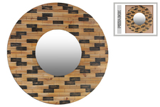 UTC39409 Wood Round Wall Mirror with Bevelled FInish and Brick Design Frame Stained Wood Finish Brown