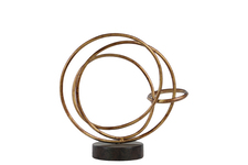 UTC39500 Metal Round Intertwined Rings Abstract Sculpture on Round Base SM Rust Finish Gold