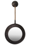 UTC39518 Metal Oval Wall Mirror with Pimpled Frame Design and Metal and Rope Hanger Brushed Finish Gunmetal Gray