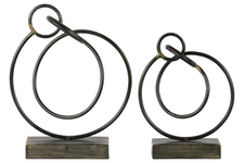 UTC39525 Metal Ring Abstract Sculpture Design on Rectangular Base Set of Two Rust Finish Gunmetal Gray