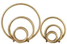 UTC39535 Metal Round Abstract Design Sculpture Set of Two Metallic Finish Gold