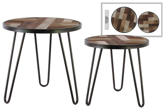 UTC39539 Metal Round Nesting Accent Table with Hairpin Legs and Wood Parquet Design Top Set of Two Coated Finish Black