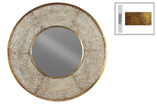 UTC39557 Metal Round Mirror with Pierced Metal Frame Metallic Rust Finish Gold