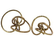 UTC39571 Metal Curl Abstract Sculpture Set of Two Metallic Finish Gold