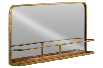 UTC39581 Metal Rectangle Wall Mirror with Shelf Metallic Finish Gold