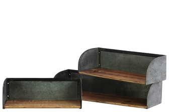 UTC39589 Wood Rectangle Wall Shelf with Metal Sides Set of Three Natural Wood Finish Brown