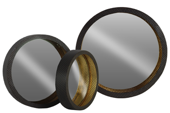 UTC39594 Metal Round Wall Mirror Set of Three Metallic Finish Black