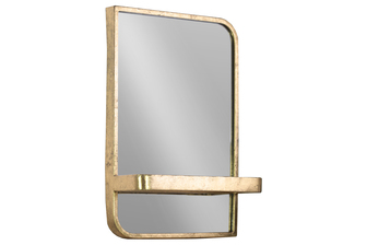 UTC39595 Metal Rectangle Wall Mirror with Shelf Metallic Finish Gold