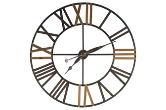 UTC39604 Metal Round Wall Clock Figurine with Roman Numerals Symbols Antique Finish Brown