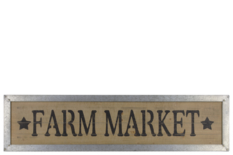 "UTC39614 Wood Rectangular Wall Art with ""Farm Market"" Label and Metal Frame Natural Finish Brown"