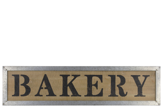 "UTC39615 Wood Rectangular Wall Art with ""Bakery"" Label and Metal Frame Natural Finish Brown"