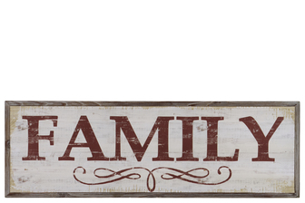 "UTC39620 Wood Rectangular Wall Art with Red ""Family"" Writing Natural Finish Brown"