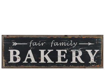 "UTC39621 Wood Rectangular Wall Art with White ""Fair Family Bakery"" Writing on Black Natural Finish Brown"