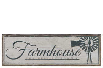 "UTC39622 Wood Rectangular Wall Art with Black ""Farmhouse The Best in Town"" Writing Natural Finish Brown"