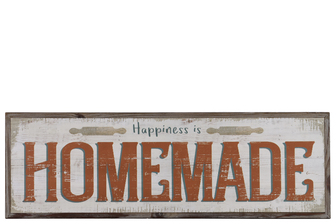 "UTC39623 Wood Rectangular Wall Art with Red ""Happiness is Homemade"" Writing Natural Finish Brown"