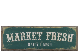 "UTC39624 Wood Rectangular Wall Art with White ""Market Fish Daily Fresh"" Writing Natural Finish Brown"