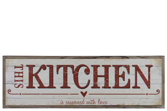"UTC39625 Wood Rectangular Wall Art with Red ""This Kitchen is seasoned with love"" Writing Natural Finish Brown"