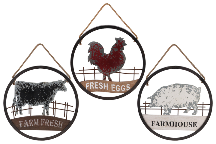 UTC39626-AST Metal Round Wall Art with Farmhouse Theme Design (Chicken, Cow and Pig) and Rope Handle Assortment of Three Tarnished Finish Gunmetal Gray